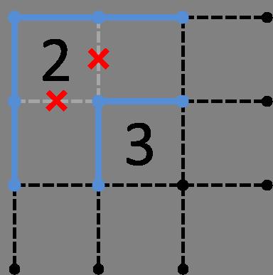 2がコーナー&斜め方向に3-解答